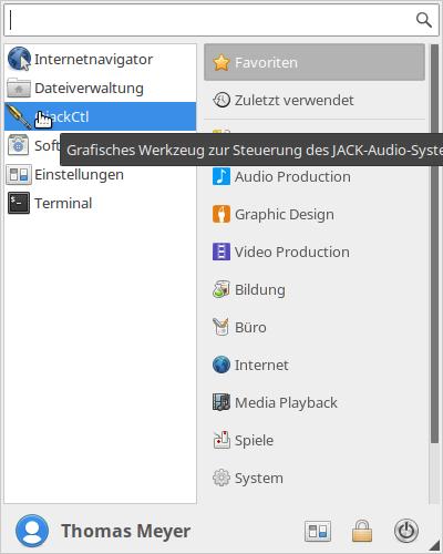 Startmenü von Ubuntu Studio