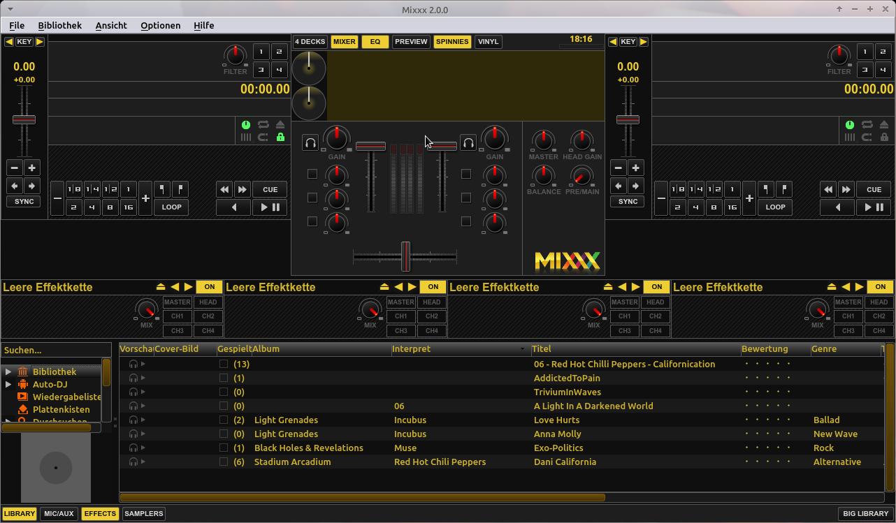 Mixxx Hauptfenster