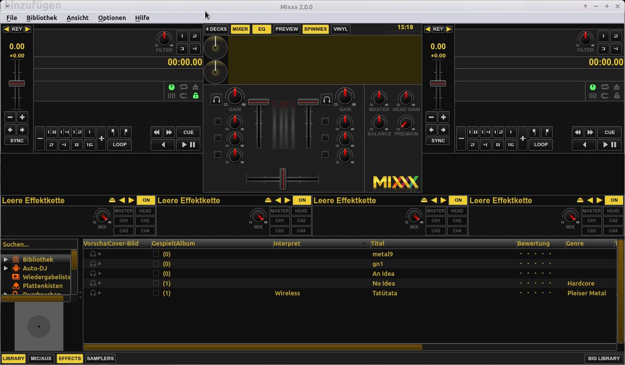 Songs zum Üben langsamer abspielen. Das Hauptfenster von Mixxx.
