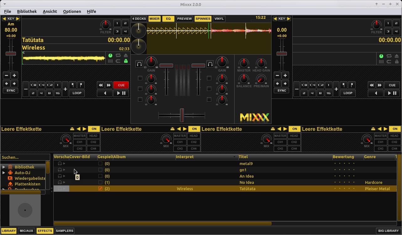 Songs zum Üben langsamer abspielen. Das Hauptfenster von Mixxx mit dem ausgewählten Song.