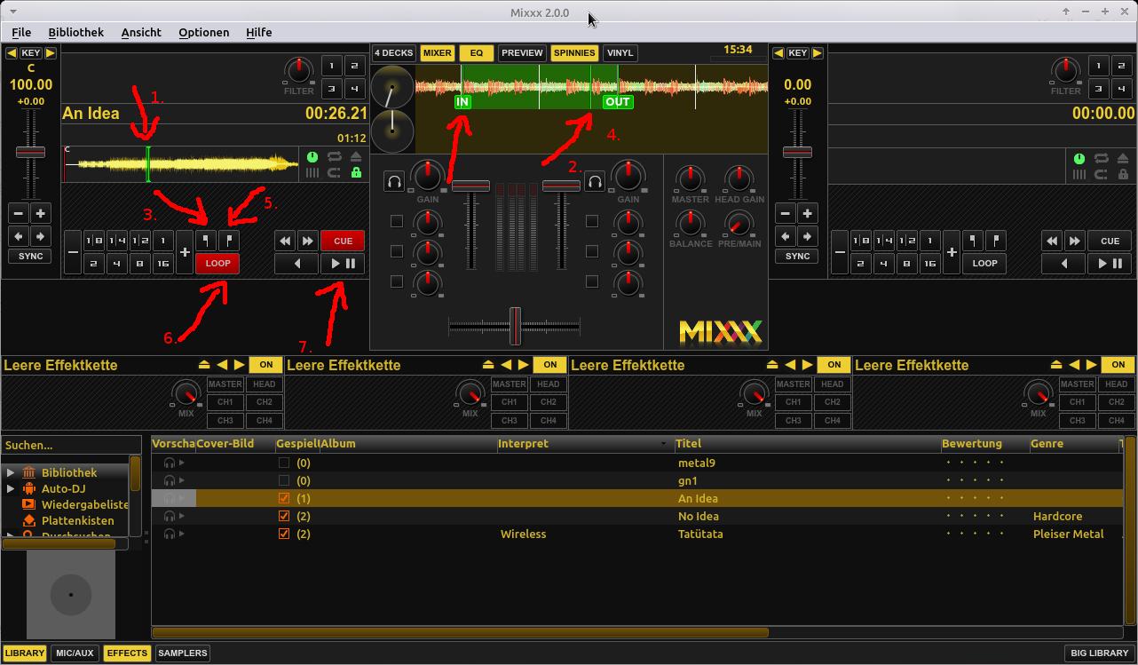 Songs zum Üben langsamer abspielen. Die wichtigsten Bedienelemente von Mixxx.