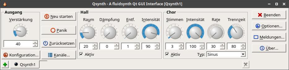 Midi Sound Synthesizer Qsynth Hauptfenster
