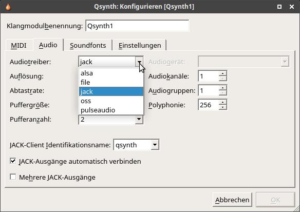 Midi Sound Synthesizer Qsynth Konfiguration Audio