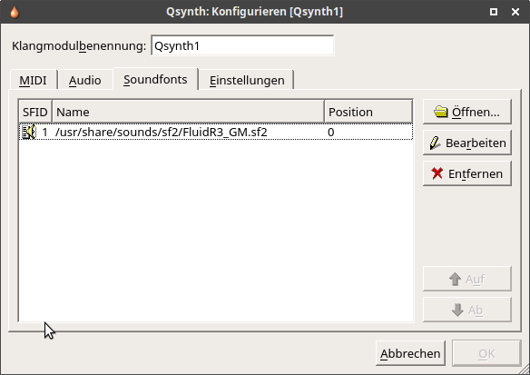 Midi Sound Synthesizer Konfiguration Soundfonts