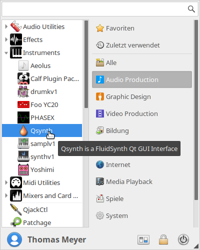 Midi Sound Synthesizer Qsynth im Startmenü von Ubuntu